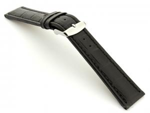 Extra Long Watch Strap Croco Black / Black 20mm
