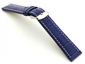 Extra Long Watch Strap Blue with White Stitching Croco 01
