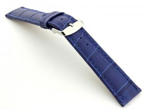 Extra Long Watch Strap Blue with Blue Stitching Croco 01