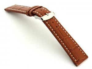 Extra Long Watch Strap Brown with White Stitching Croco 01
