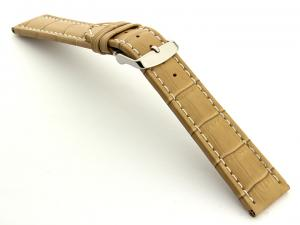 Extra Long Watch Strap Cream with White Stitching Croco 01