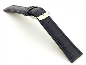 Extra Long Watch Strap Navy Blue with Blue Stitching Croco 01