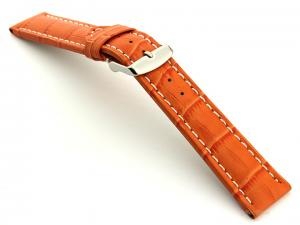 Extra Long Watch Strap Orange with White Stitching Croco 01
