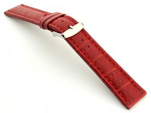 Extra Long Watch Strap Red with Red Stitching Croco 01