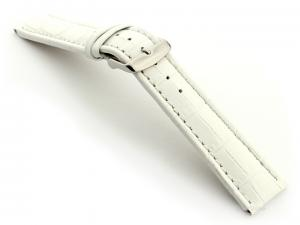 Extra Long Watch Strap White with White Stitching Croco 01