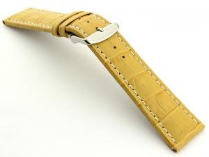Extra Long Watch Strap Yellow with White Stitching Croco 01