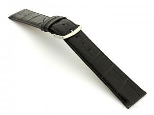 Leather Watch Strap Croco Louisiana Black 20mm