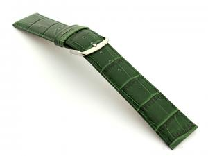 Leather Watch Strap Croco Louisiana Green 22mm