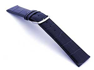 Leather Watch Strap Croco Louisiana Navy Blue 18mm