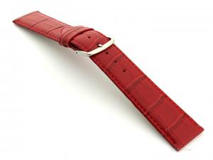 Leather Watch Strap Croco Louisiana Red 18mm