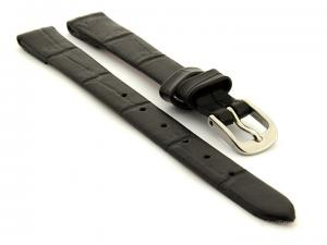Open Ended Watch Strap Croco ES - Leather Black 10mm