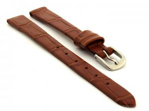 Open Ended Watch Strap Croco ES - Leather Brown 10mm