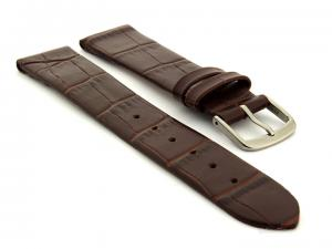 Open Ended Watch Strap Croco EM - Leather Dark Brown 20mm