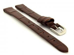 Open Ended Watch Strap Croco ES - Leather Dark Brown 14mm