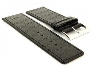 Glossy Leather Watch Strap Croco Spec WB Black 30mm