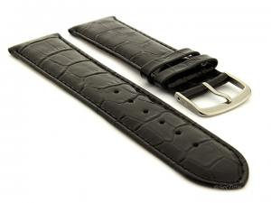 Glossy Leather Watch Strap Croco Spec WM Black 26mm
