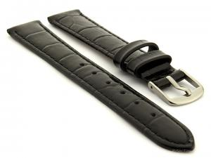 Glossy Leather Watch Strap Croco Spec WS Black 12mm