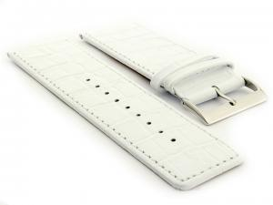 Glossy Leather Watch Strap Croco Spec WB White 36mm