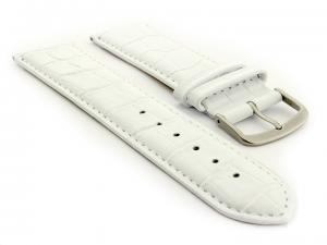 Glossy Leather Watch Strap Croco Spec WM White 18mm