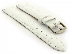 Glossy Leather Watch Strap Croco Spec WS White 14mm