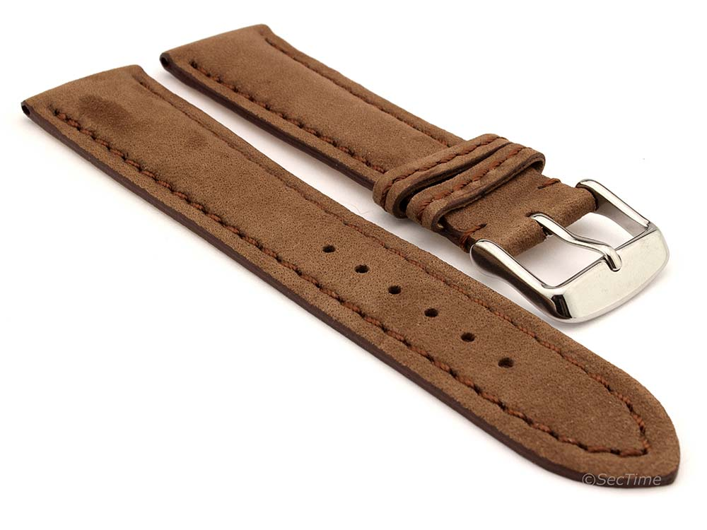 Genuine Nubuck Leather Watch Strap Band Evosa Brown 01