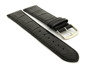 Extra Long Genuine Leather Watch Strap Croco Louisiana Black 16mm