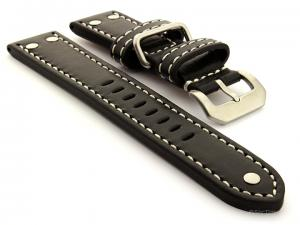 Riveted Leather Watch Strap Black with White Stitching Fighter 02