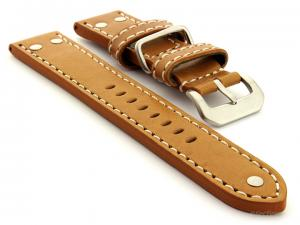 Riveted Leather Watch Strap FIGHTER Brown (Tan) / White 22mm