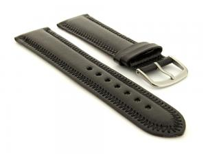 Genuine Leather Watch Strap Florence Black 24mm
