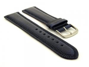 Genuine Leather Watch Strap Florence Navy Blue 22mm