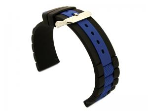 Two-colour Silicone Waterproof Watch Strap FORTE Black/Blue 20mm