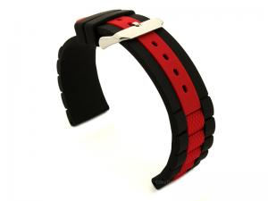 Two-colour Silicone Waterproof Watch Strap FORTE Black/Red 20mm