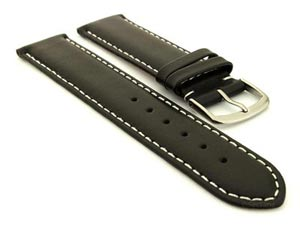 Genuine Leather Watch Strap Genk Black / White 19mm