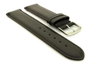 Genuine Leather Watch Strap Genk Black / Black 17mm