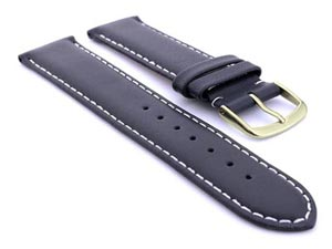 Genuine Leather Watch Strap Genk Navy Blue / White 19mm