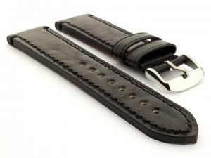 Leather Watch Strap Grand Catalonia Black 22mm