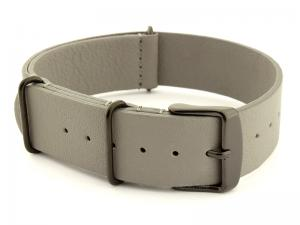 Leather Nato Strap PVD Grey 01