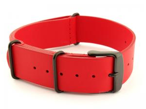 Leather Nato Strap PVD Red 02