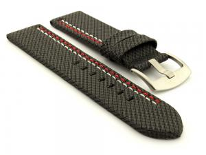 Waterproof Synthetic Watch Strap LYON, Cowhide Lining Black 20mm