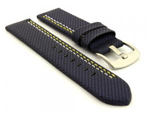 Waterproof Synthetic Watch Strap LYON, Cowhide Lining Blue 20mm