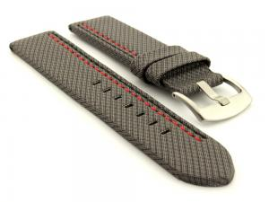 Waterproof Synthetic Watch Strap LYON, Cowhide Lining Grey 22mm