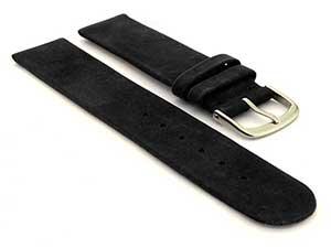 Suede Genuine Leather Watch Strap Malaga Black 16mm