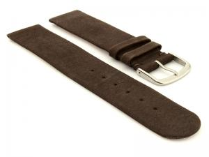 Suede Genuine Leather Watch Strap Malaga Dark Brown 14mm