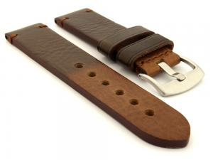 Two Tone Leather Watch Strap Maracana Dark Brown 28mm
