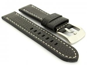 Leather Watch Strap Marina Black 20mm