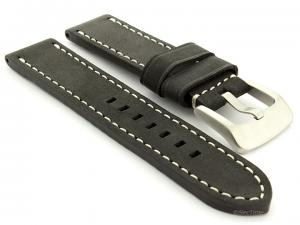 Leather Watch Strap Marina Matte Black 20mm