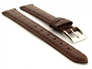 Genuine Crocodile Leather Watch Strap Miami CS Dark Brown 14mm
