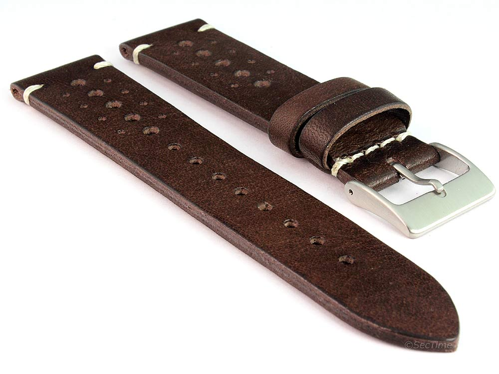 Perforated Genuine Leather Watch Strap Band Mirage Rally Racing Dark Brown 01