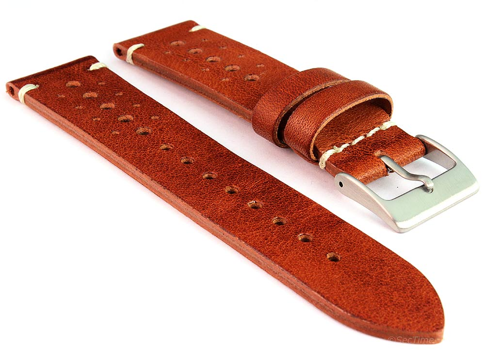 Perforated Genuine Leather Watch Strap Band Mirage Rally Racing Brown 01