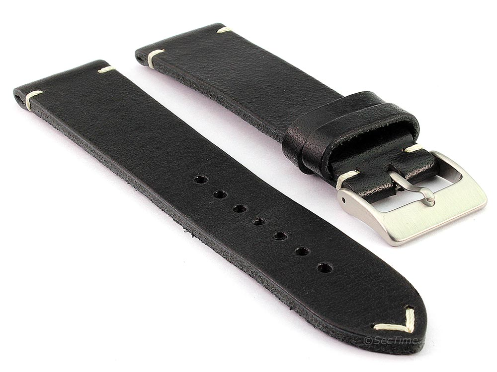 Genuine Leather Watch Strap Band Mirage Black 24mm